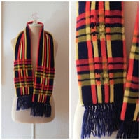 Vintage 70s Red Yellow Blue Checked Plaid Fringe Acrylic Winter Neck Scarf
