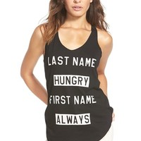 Junior Women's Recycled Karma 'Last Name Hungry' Graphic Tank,