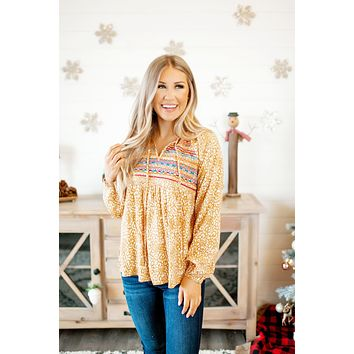 The Lindsey Embroidered Blouse (Marigold)(Final Sale)