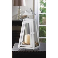 White Coastal Pillar Candle Lantern Small