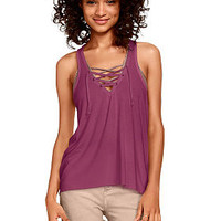 Super Soft Lace-Up Tank - PINK - Victoria's Secret