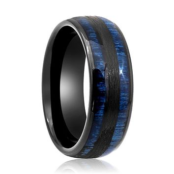 Tungsten Carbide Wedding Band With Black & Exotic Blue Wood Inlay Ring