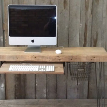 """Small wood desk with mid century hairpin legs, 36"""" x 11.5"""" w x 29.5"""" tall, 2.5"""" thick top with sliding keyboard tray - no locker basket"""