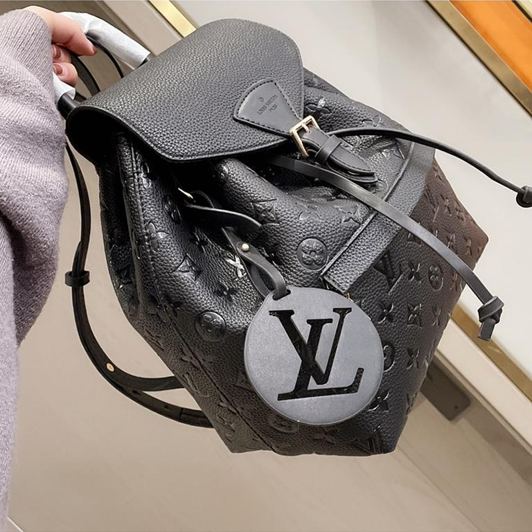 Image of LV Louis Vuitton embossed logo large capacity backpack
