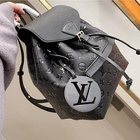 LV Louis Vuitton embossed logo large capacity backpack