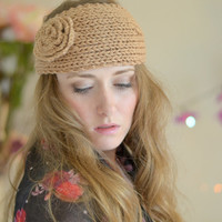 Knitted Headband, Ear Warmer, Head warmer, Exclusive, Fall Fashion Accessory, Turband, Cozy, Cable Knit in Brown/Nude