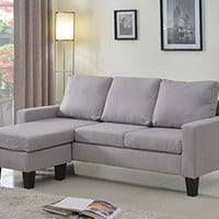 Home Life Linen Cloth Modern Contemporary Upholstered Quality Sectional Left or Right Adjustable Sectional Sofa, Large, Light Grey