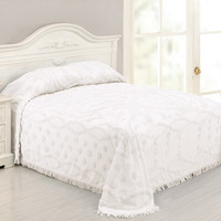 Queen size 100% Cotton Chenille Bedspread in White Damask Pattern
