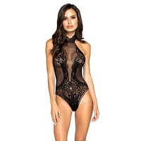 Sexy Good As Hell Halterneck Lace and Fishnet Bodystocking Teddy