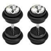 Body Accentz™ Earrings Rings Fake CZ Cheater Plug 16 gauge - Sold as a pair HO198