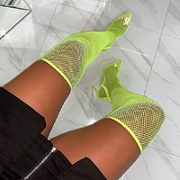 Women Fashion Over The Knee Pointed Toe Neon Green/Black Sandal Boots
