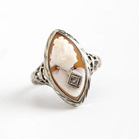 Vintage 14k White Gold Diamond Habillé Cameo Ring - Size 5 Antique 1920s Flower Filigree Art Deco Carved Shell Fine Marquise Navette Jewelry