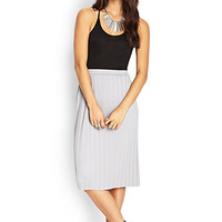 LOVE 21 Pleated Midi Skirt Grey Medium