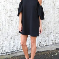 Casual Black Draped Off-shoulder Round Neck Short Sleeve Mini Dress