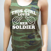 Camo This Girl Loves her Soldier Tank Top Womens Eco Jersey Racerback Alternative Apparel military army patriotic Clothes