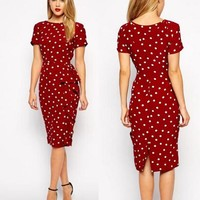 new retro dress Polka Dot Slim large size of  professional temperament Tunic dress Office Work Business clothes