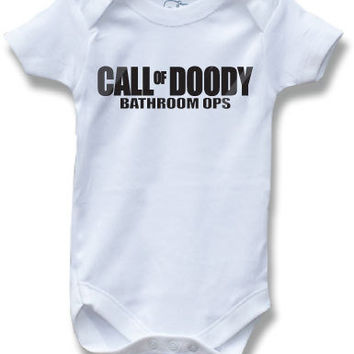 Call of Doody Bathroom Ops Duty MW3 Black Ops Gamer Geek Funny Saying Baby Onesuit for Boys and Girls Cute Baby Shower Gift