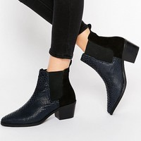 Park Lane Croc Print Leather Mid Heeled Chelsea Boots at asos.com