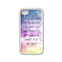 Quote - It Is Better To Be Hated For What You Are Galaxy Sky iPhone 5 White Case - For iPhone 5/5G White - Designer TPU Case Verizon AT&T Sprint
