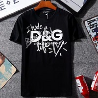 D&G Dolce&Gabbana Tide Fashion Men's & Women's Short Sleeve Top T-Shirt F-GQHY-DLSX Black