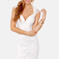 LULUS Exclusive Lace Your Bets Ivory Lace Midi Dress