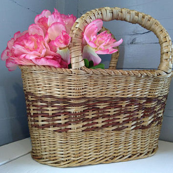 Vintage, Large, Wicker, Market Basket, Gathering Basket, Basket with Handles, Country, Farmhouse, Rustic, Home Decor, RhymeswithDaughter