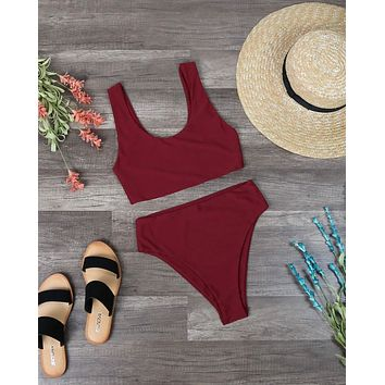 Reverse - Thea High Waisted Sport Bikini Set in Maroon