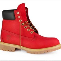Custom Red Timberland Boots Men Women and Kids