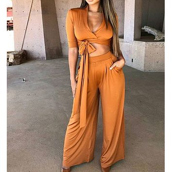 New fashion women's long-sleeved high-necked mid-sleeve tie-up bodysuit
