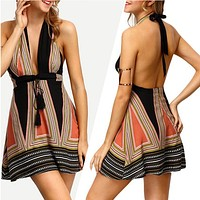 2020 New Women's Sexy Deep V Tie Skirt Halter Halter Backless Dress