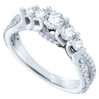 Diamond 5 Stone Bridal Ring in 14k White Gold 1 ctw