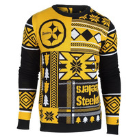 Pittsburgh Steelers Forever Collectibles KLEW Patches Ugly Sweater Sizes S-XXL w/ Priority Shipping