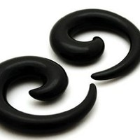 Black Acrylic Spirals - 0g - 8mm - Sold As a Pair