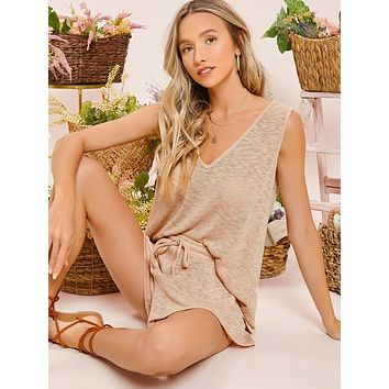 SHEIN Double V Neck Solid Tank Top & Tie Waist Shorts Set