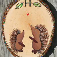 CUSTOM woodburned porcupine hedgehog NURSERY Wall ART hand painted room decor baby shower gift personalized forest woodland theme