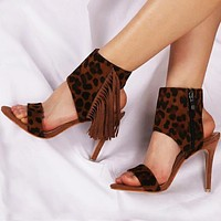 High-heeled leopard-print sandals with sexy thin heels