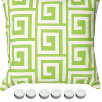 """Manual Woodworkers SLGKGW Green Greek Key 18"""" x 18"""" Climaweave Outdoor / Indoor Pillow with 6-Pack of Tea Candles"""