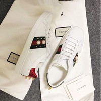 Gucci:Trending Fashion Casual Running Sports Pearl Shoes White G
