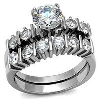 Mens Engagement Rings TK2869 Stainless Steel Ring with AAA Grade CZ