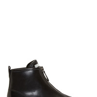 Marc By Marc Jacobs Black Buffed Leather Zipped Sneakers