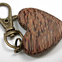LV-2550 Red Palm Wooden Heart Charm, Keychain, Wedding Gift-Unique Hand Made