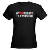 My Heart Belongs to a Wrestler Women's Dark T-Shir> My Heart Belongs to a Wrestler t-shirt> Perk-e-tees