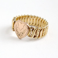 Vintage Flower Embossed Heart Expansion Bracelet - WWII Era 1940s Yellow Gold Filled Floral Etched Sweetheart Jewelry