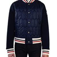 Moncler Gamme Bleu Men's Polyester Wool Varsity Jacket Navy Blue