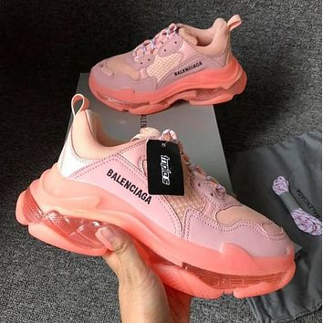 Bunchsun BALENCIAGA Triple S High Quality Women Contrast Color Crystal Soles Shoes Sport Sneakers Pink