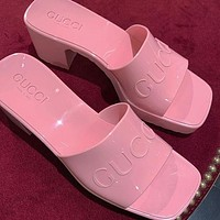 GUCCI Women's rubber slide sandal Shoes slippers