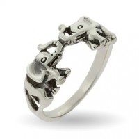 Silver-Tone Lucky Double Elephant Ring