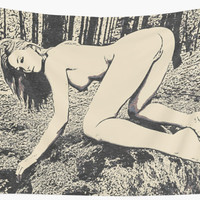'NSFW! Sexy blonde girl posing nude in forest' Wall Tapestry by sexyjustsexy