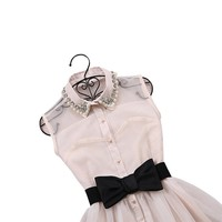 New Pearl Diamond Lapel Mesh Bow Sleeveless Princess Skirt Waist Mini Dress