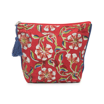 Kalini Cosmetic Pouch: Scarlet/Sand - India